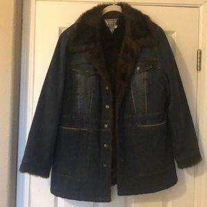 Marvin Richards Faux fur lined jean coat